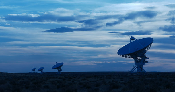 Large radio telescopes at dusk