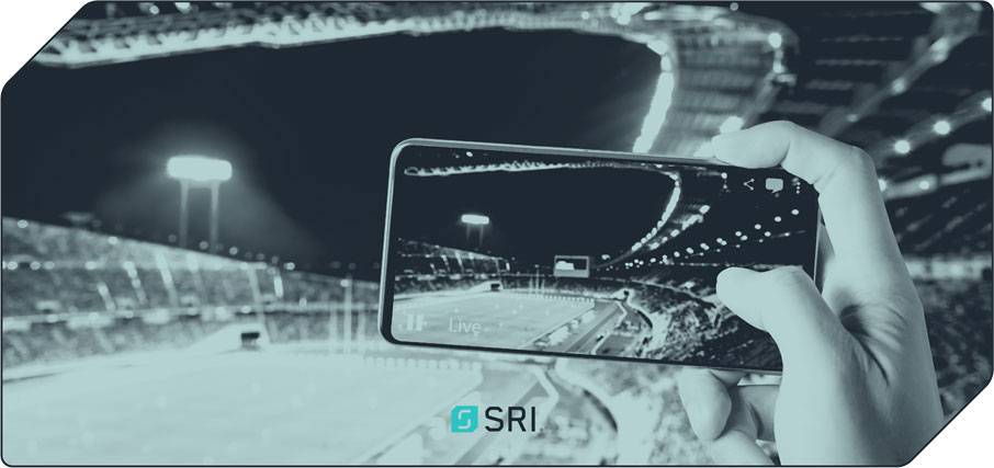 Live sporting event viewed via a mobile phone screen